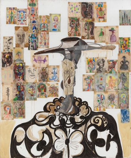 George Condo, <em>Spanish Head Composition</em>, 1988. Oil and collage on paper mounted on canvas, 118 x 98 in. The Museum of Modern Art, New York. Given anonymously, 2013. Image courtesy Skarstedt Gallery and Sprüth Magers