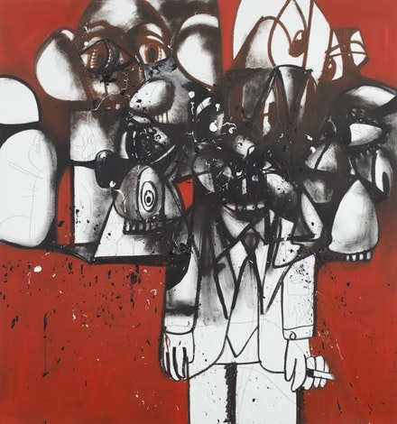 George Condo, <em>Last Man Standing</em>, 2017. Oil, graphite and pigment stick on linen, 80 x 75 inches. Courtesy the artist and Skarstedt Gallery, New York.