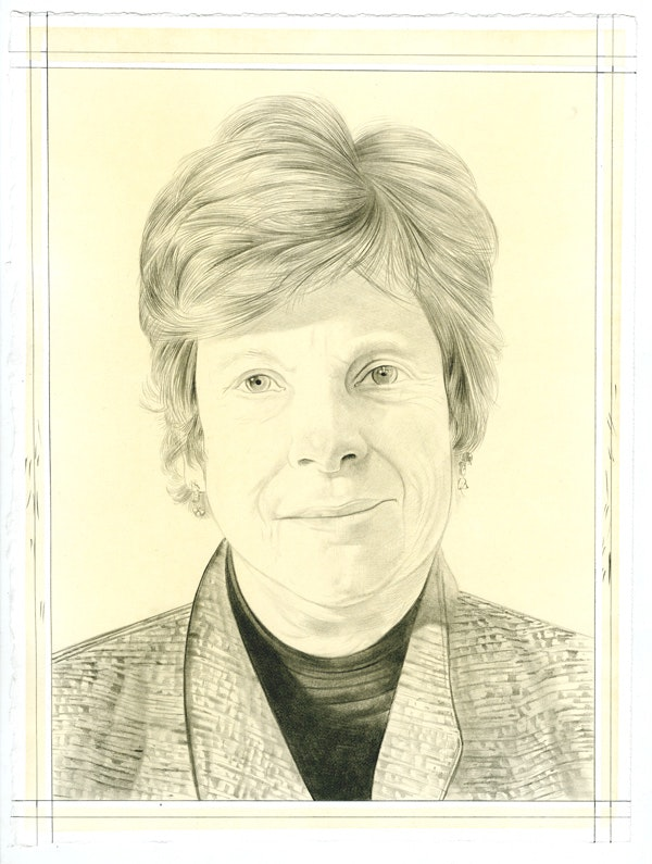 Portrait of Susan Larsen, pencil on paper by Phong Bui.