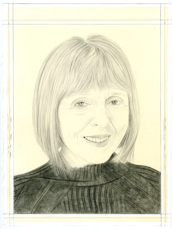 Portrait of Constance Lewallen, pencil on paper by Phong Bui.