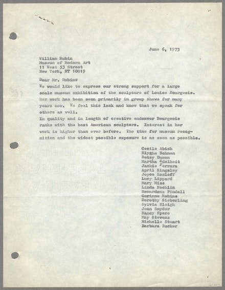 Feminists' letter to William Rubin regarding an exhibition for Louise Bourgeois, June 6, 1973. Courtesy Louise Bourgeois Archive, The Easton Foundation.