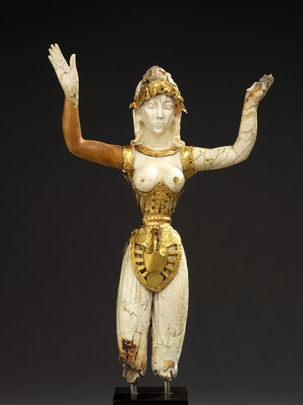 <em>Statuette of a Minoan Goddess (Our Lady of the Sports)</em>, Crete, probably early 20th century.  Ivory and gold, 19.1 x 12.5 x 3.9 cm. With permission of the Royal Ontario Museum &copy; ROM.