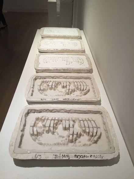 <p>UuDam Tran Nguyen, <em>Time Boomerang, Phase 4: Creating the New Freaking World Order,</em> 2014—ongoing. Detail of molds for plaster world maps, sculpture, performance video, mixed media. Photo: Vivian Li.</p>