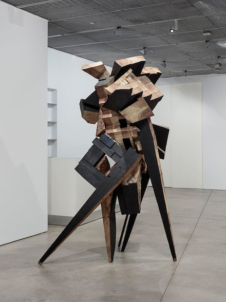 <p>Mel Kendrick, <em>Sculpture No. 4</em>, 1991. Poplar, steel, lampblack, and linseed oil, 108 x 57 x 53 inches.</p>