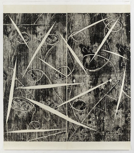 <p>Mel Kendrick, <em>10 Loops Split</em>, 1993. Woodblock on Kozo paper, mounted on canvas, 108 x 95 inches.</p>