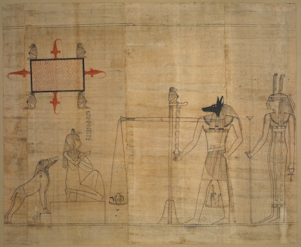<p>Egyptian,&nbsp;<em>Book of the Dead: the final judgement scene</em><em>,&nbsp;</em>ca. 940 BC. Red and black ink on papyrus.&nbsp;Courtesy &copy; The Trustees of the British Museum (2017).&nbsp;</p>