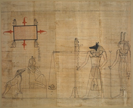 <p>Egyptian,<em>Book of the Dead: the final judgement scene</em><em>,</em>ca. 940 BC. Red and black ink on papyrus.Courtesy © The Trustees of the British Museum (2017).</p>