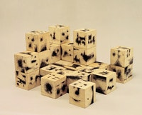 Dimitris Condos, <em>Cubes </em>, Athens, 1965, ink on wooden cubes.