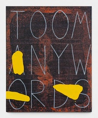 <p>Walter Swennen, <em>Too many words</em>, 2017, Ink and oil on canvas, 160.3 x 130.5 cm © Walter Swennen. Courtesy Gladstone Gallery, New York and Brussels. (Photo: David Regen).</p>