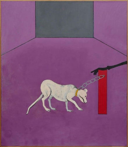 Joan Brown, <em>The Captive</em>, 1975, Enamel on canvas, 85 x 73 inches