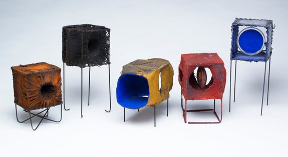 Leo Rabkin, <em>City Boxes</em>, 1958 – 1962. Steel frame, canvas body, painted, flocked, stitched. Photo: Jay York. Courtesy the Rabkin Foundation.