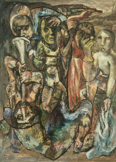 Ben Wilson, <em>Victory, </em>1945, oil on canvas, 48 x 36 inches. Montclair State University Permanent Collection
