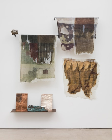 Ishmael Randall Weeks, <em>Excavation annotations</em>, 2017. Mineral with crystal, steel plate, copper plate, silver plate, copper plated wood, phototransfer on gel. 66 x 64 x 7.5 inches. Courtesy Van Doren Waxter.