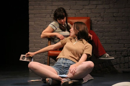 <p>Madeline Wise (front) and Caitlin Morris in Susan Bernfield's <em>Tania in the Getaway Van. </em>Photo: Ilyce Meckler.</p>