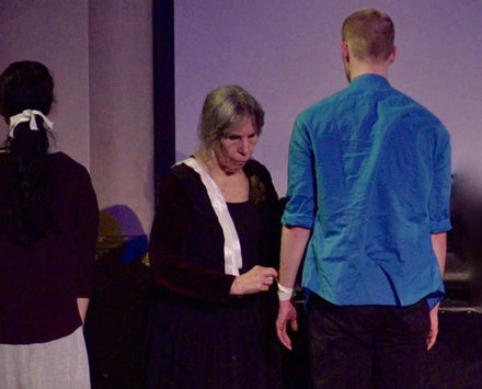 Left to Right: Elizabeth Regan, Ruth Spiller, and Finlay Copland in <em>White Ribbon.</em> Credit: Michael Stever (Stills from Video)