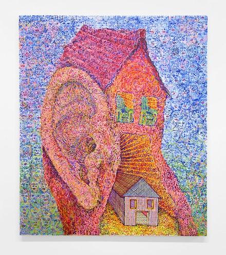 Andy Cahill, <em>Nest Egg</em>, 2017. Urethane on canvas, 62