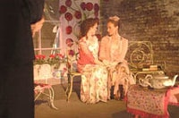 Christine Siracusa as Cecily (left) Claire Beckman as Gwendolyn (right) Thom Garvey as Jack (foreground).