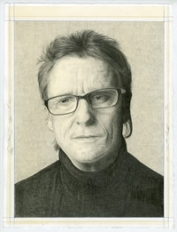 Portrait of David Row. Pencil on paper by Phong Bui.