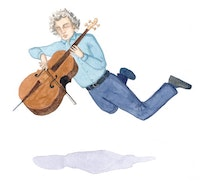 Didier Petit in zero gravity. Illustration by Megan Piontkowski.
