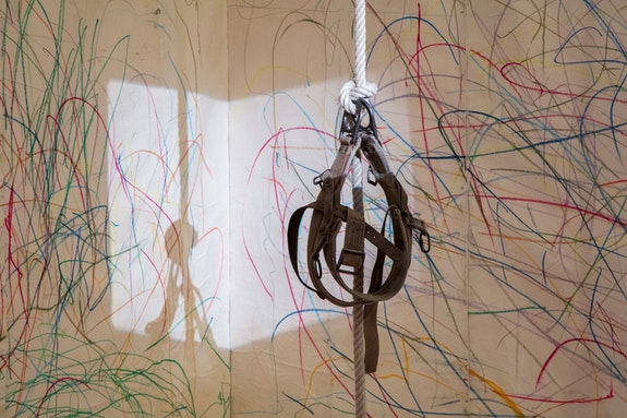 <p>Carolee Schneemann. <em>Up to and Including Her Limits. </em>1973-76. Crayon on paper, rope, harness, Super 8mm film projector, video (color, sound; 29 min.), and six monitors. Dimensions variable. The Museum of Modern Art, New York, Committee on Drawings Funds and Committee on Media and Performance Art Funds, 2012. &copy; 2017 Carolee Schneemann. Courtesy the artist, P.P.O.W, and Galerie Lelong, New York.</p>