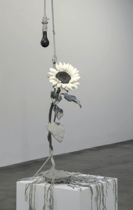 <p>Jeanne Silverthorne, <em>Suicidal Sunflower</em>, 2014. Platinum silicone rubber, dimensions variable. Courtesy MARC STRAUS Gallery, New York.</p>