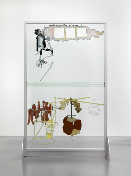 <p>Marcel Duchamp (reconstruction By Richard Hamilton), <em>The Bride Stripped Bare by Her Bachelors, Even (The Large Glass)</em>, 1915 (1965-6 and 1985) Oil, lead, dust and varnish on glass in metal frame, 277.5 x 175.9 cm. Tate: Presented by William N. Copley through the American Federation of Arts 1975. Photo © Tate, London, 2017 / © Succession Marcel Duchamp/ADAGP, Paris and DACS, London 2017.</p>