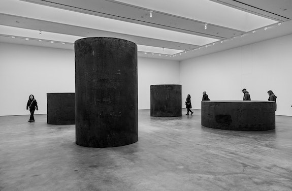 <p>Richard Serra, <em>Four Rounds: Equal Weight, Unequal Measure</em>,  2017. Installation view, Richard Serra: Sculpture and Drawings, David Zwirner, New York, 2017. Photo by Cristiano Mascaro. © 2017 Richard Serra / Artists Rights Society (ARS), New York. Courtesy David Zwirner, New York/London.</p>