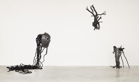 <p>Minouk Lim, <em>Hole in Chest Nation - Mr. Chai, Head, Mr. Ahn</em>, 2014. Wood, metal, synthetic hair. 35.43 x 23.62 x 11.81 inches. Courtesy Tina Kim.</p>