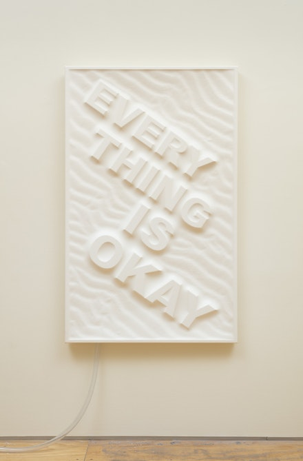 <p>Antoine Catala, <em>Everything is Okay (beach)</em>, 2017. Latex, wood, foam, pump, 58 × 36 inches. Courtesy the artist and 47 Canal, New York. Photo: Joerg Lohse.</p>