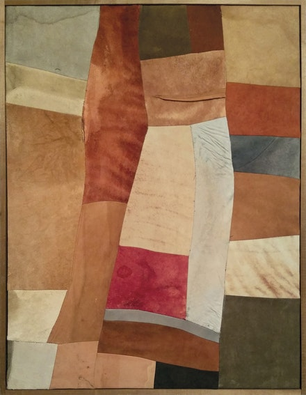 <p>Nuvolo (Giorgio Ascani), <em>Untitled</em>, 1961. Dyed and sewn deerskin, 80.3 by 60.8 cm. Private collection. Courtesy Di Donna Gallery.</p>