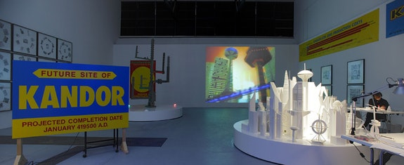 <p>Mike Kelley, <em>Kandor-Con 2000</em>, 1999/2007. Mixed media installation with video, sound, dimensions variable. Installation view, 'Kandor-Con 2000,' Jablonka Galerie at Technische Universität in cooperation with Harald Falckenberg, Cologne, Germany, 2007. Art © Mike Kelley Foundation for the Arts. All Rights Reserved / Licensed by VAGA, New York, NY. Deichtorhallen Hamburg / Falckenberg Collection. Courtesy the Mike Kelley Foundation for the Arts and Hauser & Wirth. Photo: Lepkowski Studios, Berlin.</p>