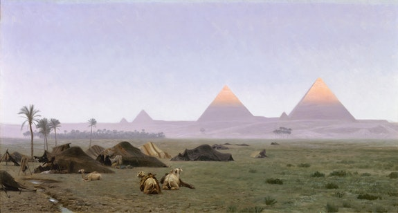 Jean-Léon Gérôme, <em>The First Kiss of the Sun</em>, c. 1886. Oil on canvas laid down on board, 21 ¼ by 39 ½ inches. Courtesy Gallery 19C, Beverly Hills.