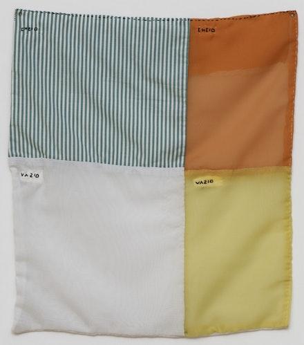 José Leonilson, Cheio, vazio [Full, Empty], 1992. Thread on voile and striped cotton fabric, 21 <sup>1</sup> ⁄ <sub>4</sub> x 19 <sup>5</sup> ⁄ <sub>16</sub> inches. Coleção Museu de Arte Moderna de São Paulo, doação Bayer S.A. © Projeto Leonilson. Photo: Edouard Fraipont.