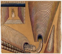 Martín Ramírez. Untitled (Train and Tunnels), 1954.Pencil, colored pencil, crayon, and watercolor on paper. 36 in x 41.25 inches. Courtesy Ricco/Maresca Gallery.