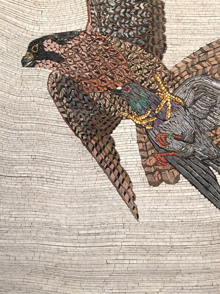<p>Duke Riley, <em>Death from Above</em> (Detail), 2017. Colored tile composite mosaic on panel. Photo by the author.</p>