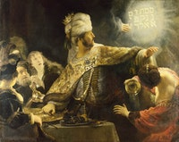 Rembrandt, <em>Belshazzar's Feast</em>, 1635. Oil on canvas, 66 x 82.4 inches. National Gallery, London.