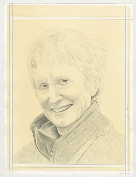 Portrait of Donna Haraway, pencil on paper by Phong Bui.