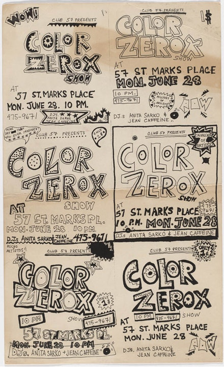 <p>Flyer for Color Xerox Show at Club 57, 1982. Design by Jean Caffeine. The Museum of Modern Art, New York. Department of Film Special Collections</p>