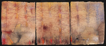 Irving Petlin, <em>STORMS: Abandoned Forest (Broken Boat)</em>, (2012), Pastel on Handmade Paper. Triptych Overall: 34 5/8 x 82 5/8 in. Courtesy Kent Fine Art.