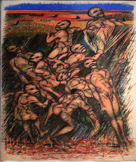 Irving Petlin, <em>Hundred Fighting Men (II)</em>, (1962), Pastel on paper. 34 x 28 in./86.4 x 71.1 cm. Courtesy Kent Fine Art.