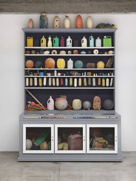 <p>Mark Dion, <em>Cabinet of Marine Debris</em>, 2014, painted wood-and-metal cabinet and found objects, 113 × 84 × 32 inches (287 × 213.4 × 81.3 cm). Collection of Martin Z. Margulies, Miami. Courtesy the artist and Tanya Bonakdar Gallery, New York. © Mark Dion.</p>