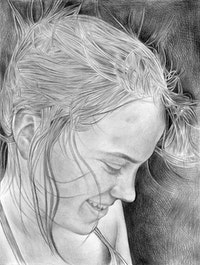 Portrait of Sabrina Seelig. Pencil on paper by Phong Bui.