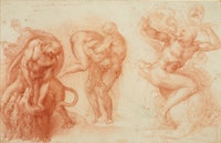 Michelangelo Buonarotti, <i>Three Labours of Hercules</i>, Red Chalk, 1530-1533, 10 11/16 x 16 5/8 in. Lent by Her Majesty Queen Elizabeth II. Courtesy of the Metropolitan Museum of Art.