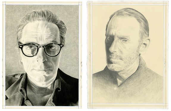 Left: Carroll Dunham, Right: David Salle. Portraits by Phong Bui, pencil on paper.