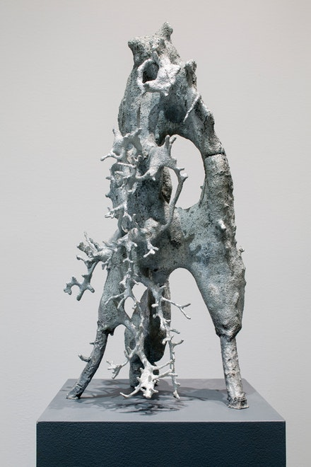 Agnieszka Kurant, <i>A.A.I (System's Negative) No. 6</i>, 2016. Zinc, pedestal. 67 7/8 x 14 x 14 inches. Courtesy the artist, Tanya Bonakdar Gallery, New York, and Savannah College of Art and Design.