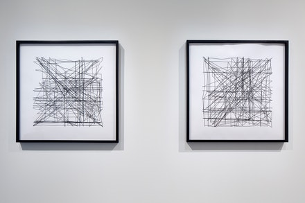 Agnieszka Kurant and John Menick, <em>Production Line</em> series, 2016. Ink plotter drawings on archival paper. 27 x 27 inches each. Courtesy the artists, Tanya Bonakdar Gallery, New York. and Savannah College of Art and Design.