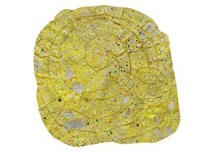 Howardena Pindell, <em>Nautilus #1</em>, 2014-2015. Mixed media on canvas, 68 x 72 inches. Courtesy Garth Greenan.