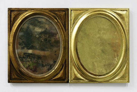 <p>Ellen Harvey, <em>Nostalgia, </em>(2017), two identical gold frames, mildewed paper, gold leaf. 8.25 x 21 inches. Courtesy the artist and Danese/Corey. </p>