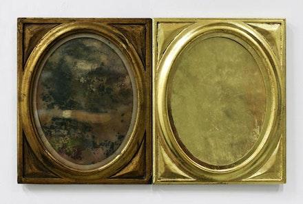 <p>Ellen Harvey, <em>Nostalgia, </em>(2017),two identical gold frames, mildewed paper, gold leaf. 8.25 x 21 inches. Courtesy the artist and Danese/Corey.</p>