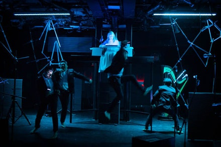 <p><em>Thomas Paine in Violence</em>, Eddie Rodriguez Jr., Christian Luu, Andrew Mayer, Paul Pinto, (Joan La Barbara elevated). Photo by Benjamin Heller.</p>
